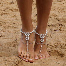 1Pcs Bridal Barefoot Sandals Pearl Flower Multi-Layer Anklet Wedding Beach Foot Jewelry Chain Leg Ethnic Jewellery For Women
