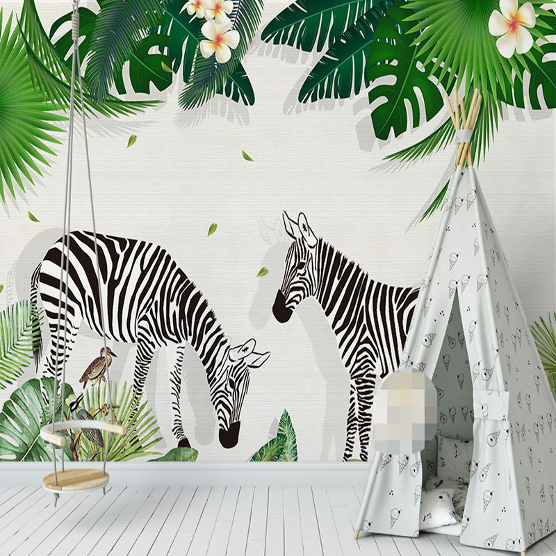 US $8.79 44% OFF Custom 3D Photo Wallpaper For Kids Room Creative Hand  Painted Zebra Green Tree Leaf Children Bedroom Decor Wall Sticker Mural-in  ...
