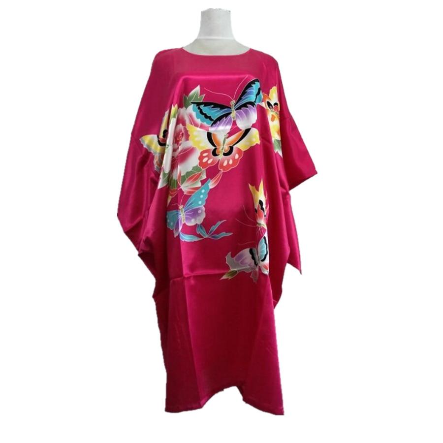Hot Pink Female Faux Silk Bath Robe Gown Summer Lounge Looose Sleepwear Print Nightdress Women Sexy Nightgown
