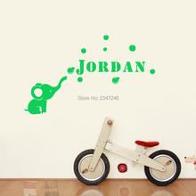 Personalized Cute Calf Elephant Bubbles Vinyl Wall Sticker Custom Made Name Vinyl Mural Decal for Kids