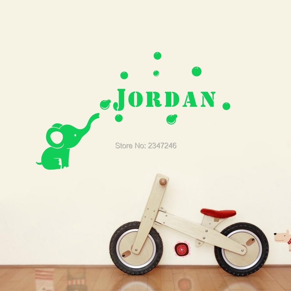 Personalized Cute Calf Elephant Bubbles Vinyl Wall Sticker Custom Made Name Vinyl Mural Decal for Kids Room Decoration