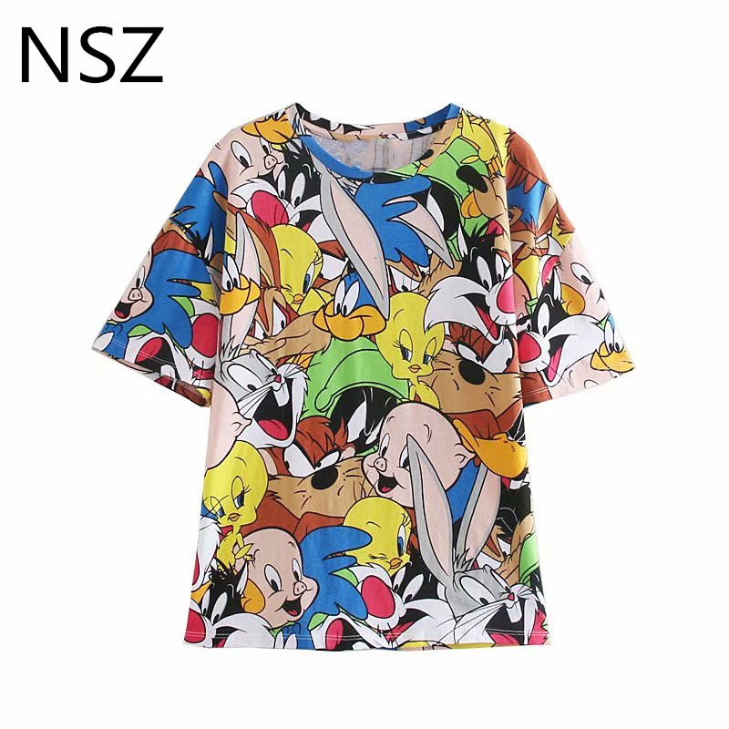 NSZ Women Cartoon Anime Print   T     Shirt   Short Sleeve Round Collar   T  -  Shirt   Summer Tee   Shirts   Female Cotton Top