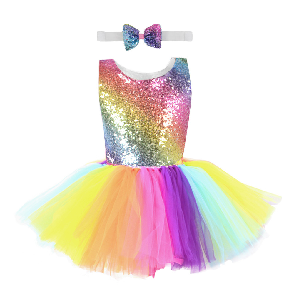 Радужное платье-пачка с блестками для детей, модное фатиновое платье без рукавов с открытой спиной Одежда для девочек яркое детское праздничное платье для девочек от 2 до 8 лет - Цвет: TD04