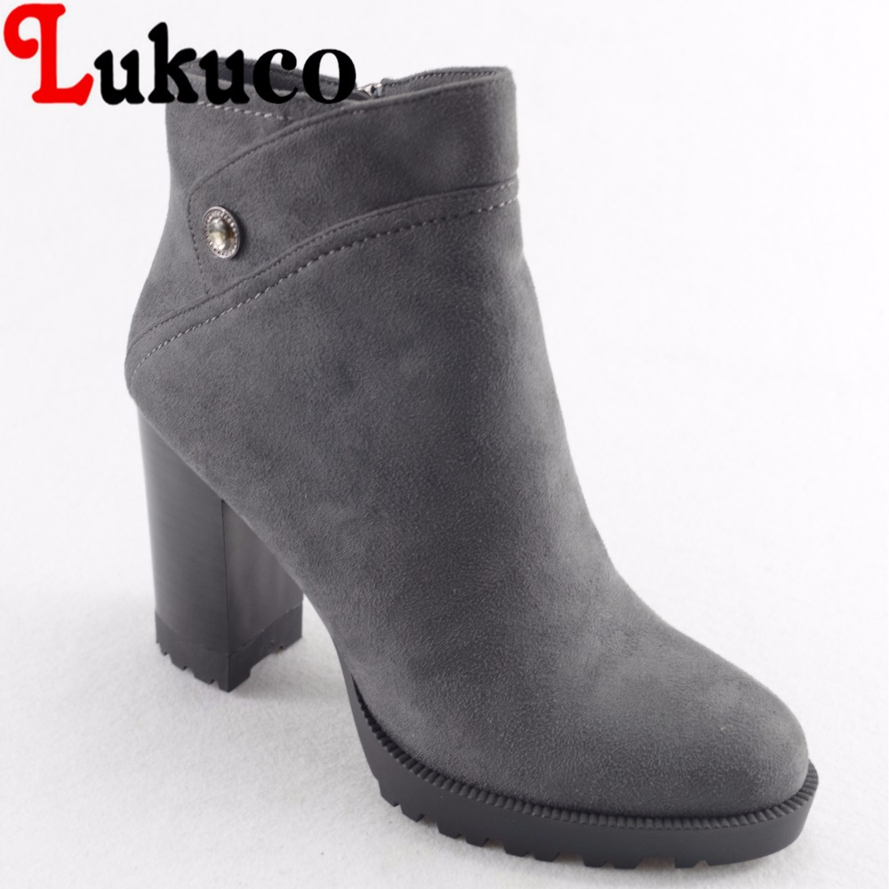 Lukuco pure color women ankle boots microfiber made zip design high square heel shoes with short plush inside