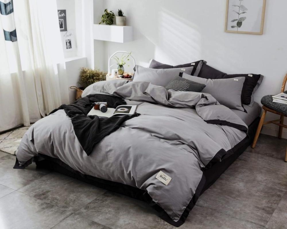 Ensemble de literie Style nordique ensemble de lit luxe coton Twin Queen King Size couleur chaude housse de couette ensemble drap de lit 3 styles - 2