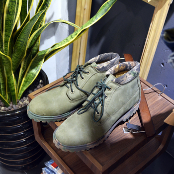 Men's Boots Lace Up High Top Casual Shoes Camouflage Mix Colour Patchwork Worker Ankle Boots Nubuck Genuine Leather Martin Boots
