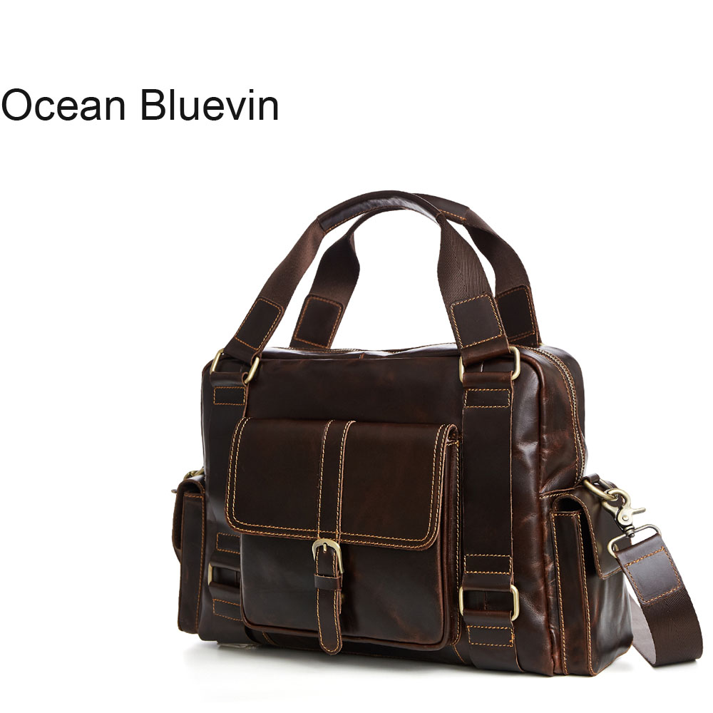 OCEAN BLUEVIN New Men Genuine Leather Messenger Bags Shoulder Bags for Men Vintage Crossbody Bag Male Bag Handbag Phone Bolsas