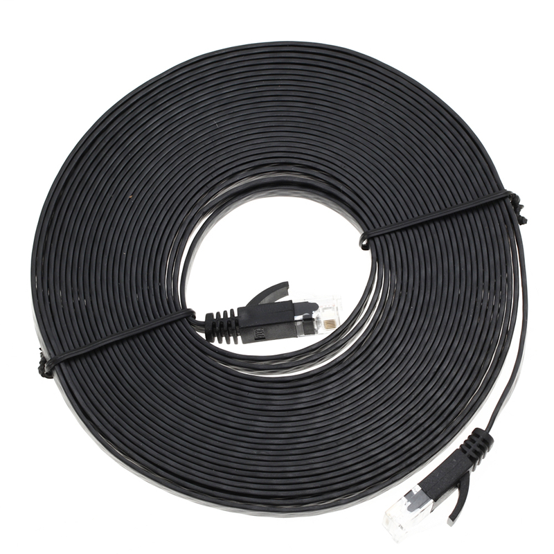 High Quality 1m/3m/5m/10m Aurum Cables Flat CAT6 Flat UTP Ethernet Internet Network Cable RJ45 Patch LAN Cable Connector Black 100m cat5 5e 8 pin intertek high speed lan network cable utp copper core wire twisted pair ethernet cables internet cable for pc