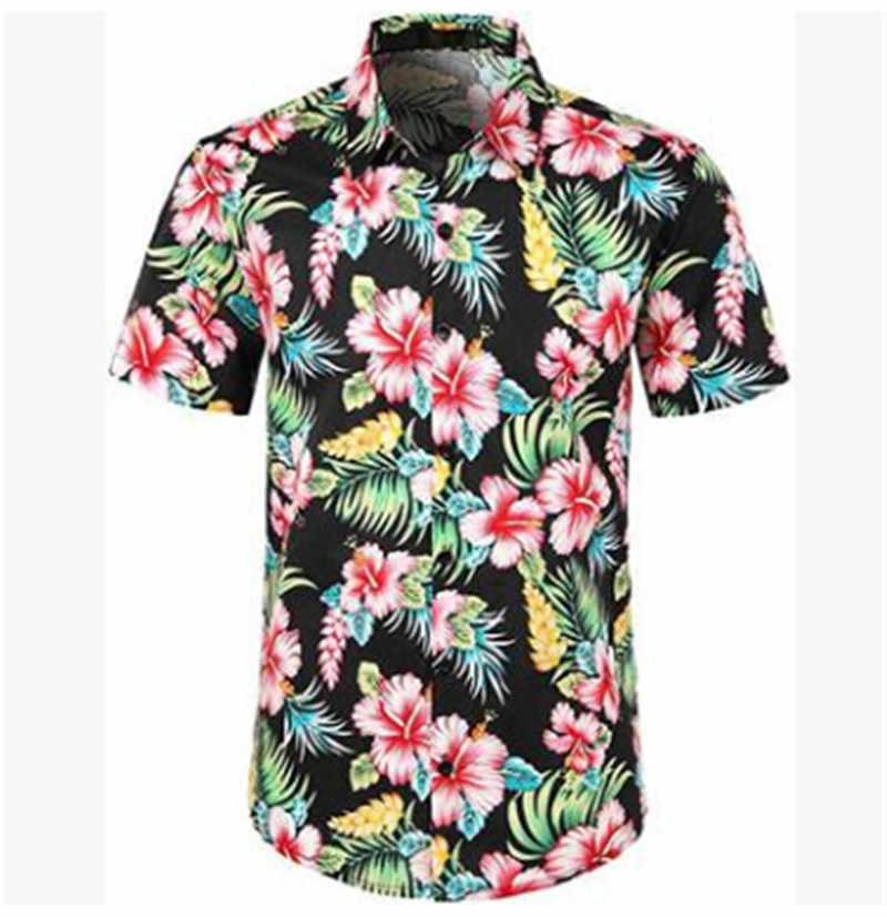 Men Hawaiian Short Sleeve Shirt Summer Floral Printed Beach Sea Shirt