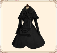 Платье принцессы в стиле Лолиты, осенне зимнее однобортное шерстяное пальто с шалью, милое приталенное пальто, размер на заказ, бесплатная д