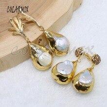 5 pares de pendientes de perlas naturales, pendientes de piedra de perlas grandes, pendientes plateados de colores metálicos, joyería de regalo para mujer 4904