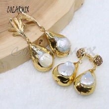5 ペアナチュラルパールイヤリングビッグドロップ真珠の石イヤリング、メッキ金属色イヤリングジュエリーの女性のギフト女性のための 4904