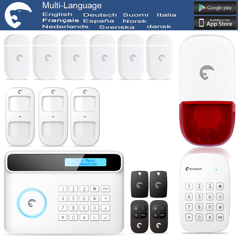 Etiger S4 Wireless PSTN  GSM Home Alarm Security System English German  Spanish Danish Italian Dutch French Voice sapsan gsm pro 4 эконом gsm сигнализация