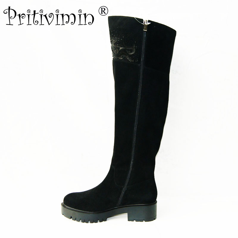 Pritivimin FN75 2017 women winter warm real wool fur lined shoes Ladies genuine leather over the knee high boots factory direct zeki b1987 13ru