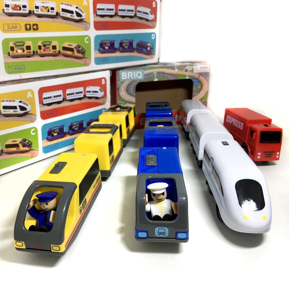 W128 niños Tren Eléctrico juguetes ranura tren eléctrico con dos carros Thomas juguete de madera ajuste Thomas pista de madera brio