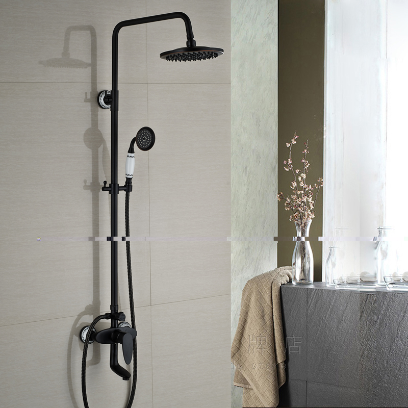 Luxury Single Handle Rainfall 8 Shower Head Bath Shower Faucet Set with Handshower Oil Rubbed Bronze Finish