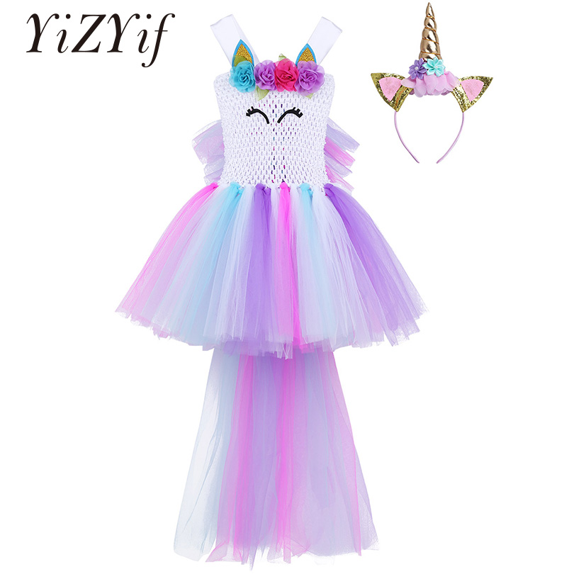 Discreet Yizyif Kids Girls Tutu Dress Halloween Cosplay Outfit Sleeveless 3d Flowers Cartoon Animal Applique Mesh Carnival Party Costume