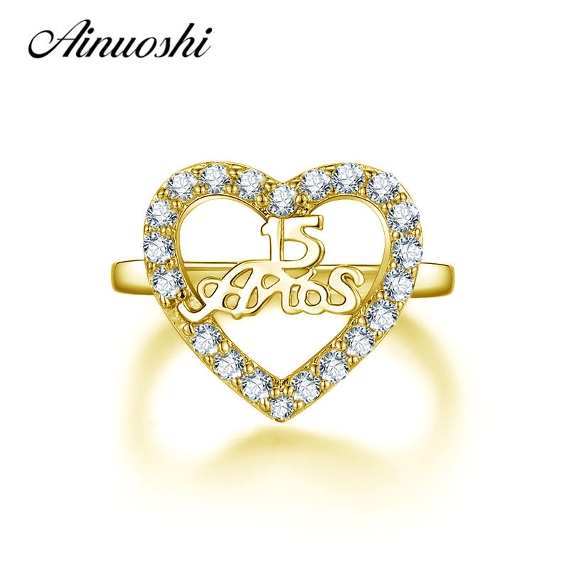 AINUOSHI 10K Solid Yellow Gold Hollow Heart Ring 15th Anniversary Women Ring Jewelry Engagement Wedding Birthday Party Fine Ring ainuoshi exquisite queen crown ring 10k solid yellow gold flower ring women jewelry engagement wedding birthday party heart ring