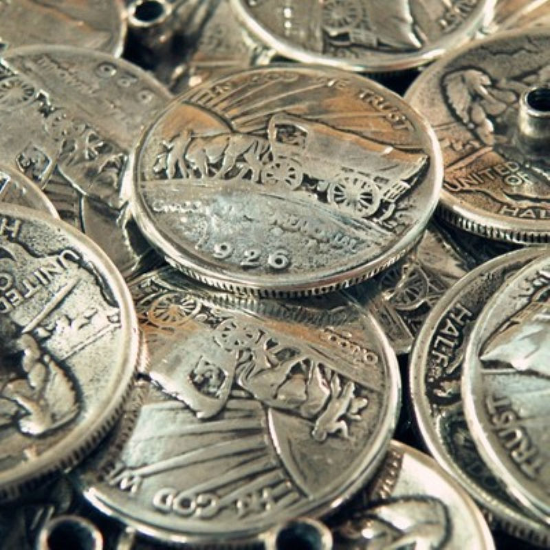DIY Leathercraft Hardware Oregon Trail Semi-Dolar Moneda Concho Antique Silver # JP-5103S-30