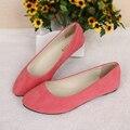 2016 Nuevo Color Caramelo Zapatos de Punta Suave Rebaño Plana Cómoda de Tamaño Grande Zapatos de Las Mujeres CXD-C3