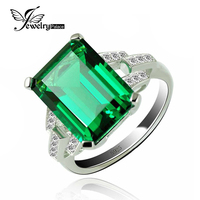JewelryPalace Luxury 5 9ct Created Emerald Cocktail Ring 925 Sterling Silver Rings For Women Fine Jewelry
