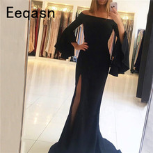 Elastic Satin Black Evening Dresses Long 2018 Sweep Train Red Half Sleeves Side Slit Off the Shoulder Party Dress Formal Gown(China)
