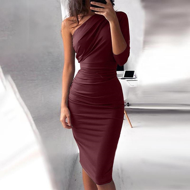 One Shoulder Bodycon Party Dresses 1