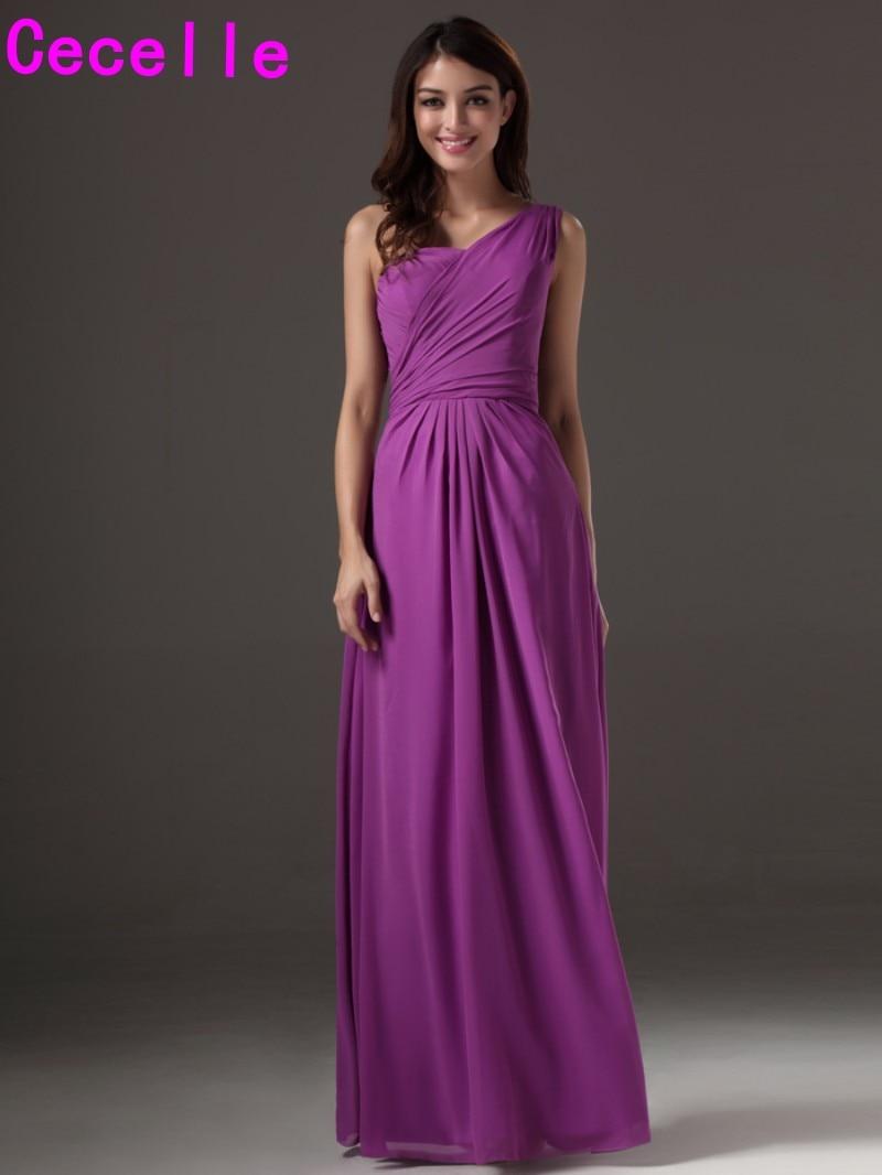 Popular bridesmaid dresse purple buy cheap bridesmaid dresse long floor length a line purple one shoulder bridesmaids dresses with straps long wedding party ombrellifo Images
