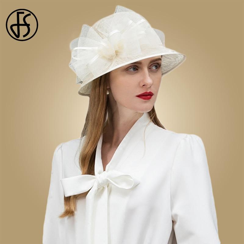 3eba3008bcf83 FS Elegant White Black Pink Sinamay Womens Hats Wide Brim Linen Wedding Summer  Ladies Bowknot Chapeau Fedora Kentucky Derby Hat