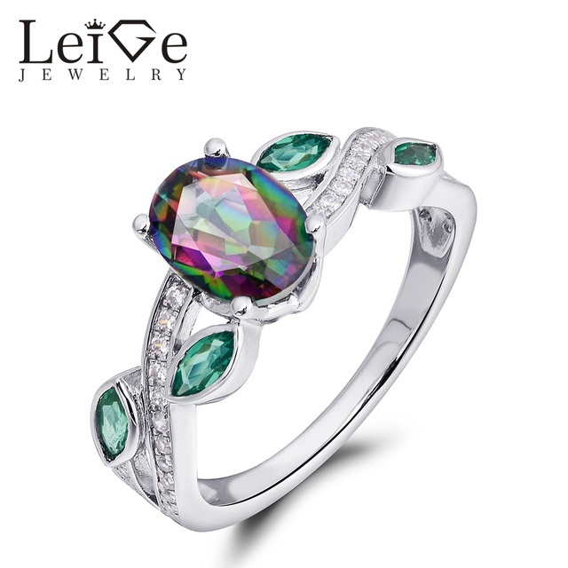 Leige Jewelry High Quality Mystic Topaz Ring Rainbow Gemstone Oval Cut 925 Silver Wedding Rings For