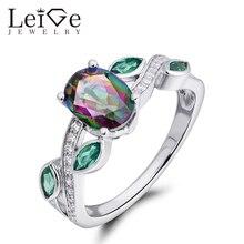 Leige Jewelry High Quality Mystic Topaz Ring Rainbow Gemstone Oval Cut 925 Silver Wedding Rings for Women Christmas Gift