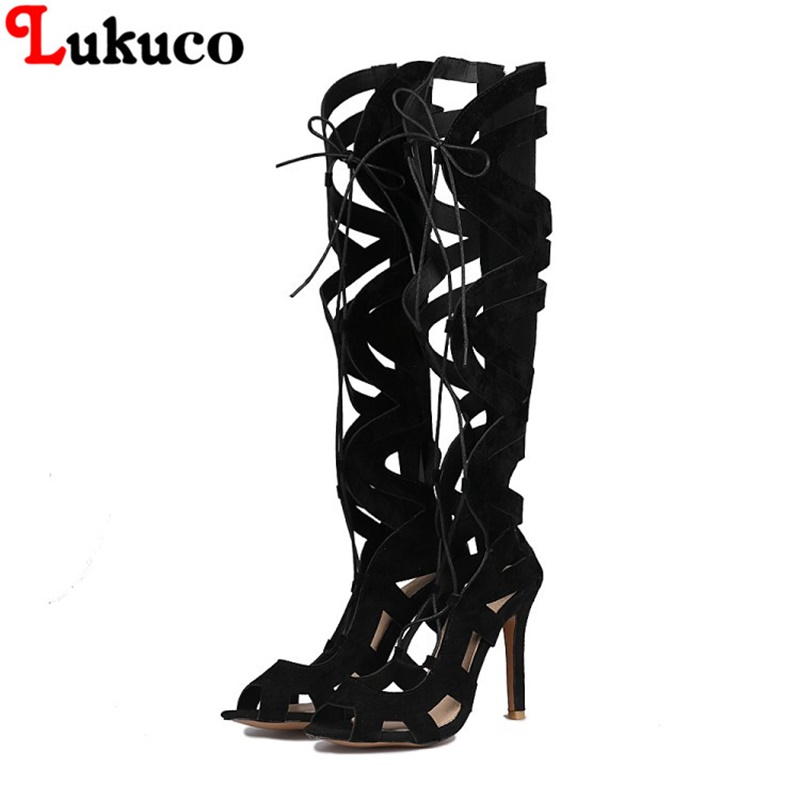 2018 NEW SALE 39 40 41 42 43 44 45 46 Lukuco knee-high women summer shoes  boots high quality low price lady shoes free shipping
