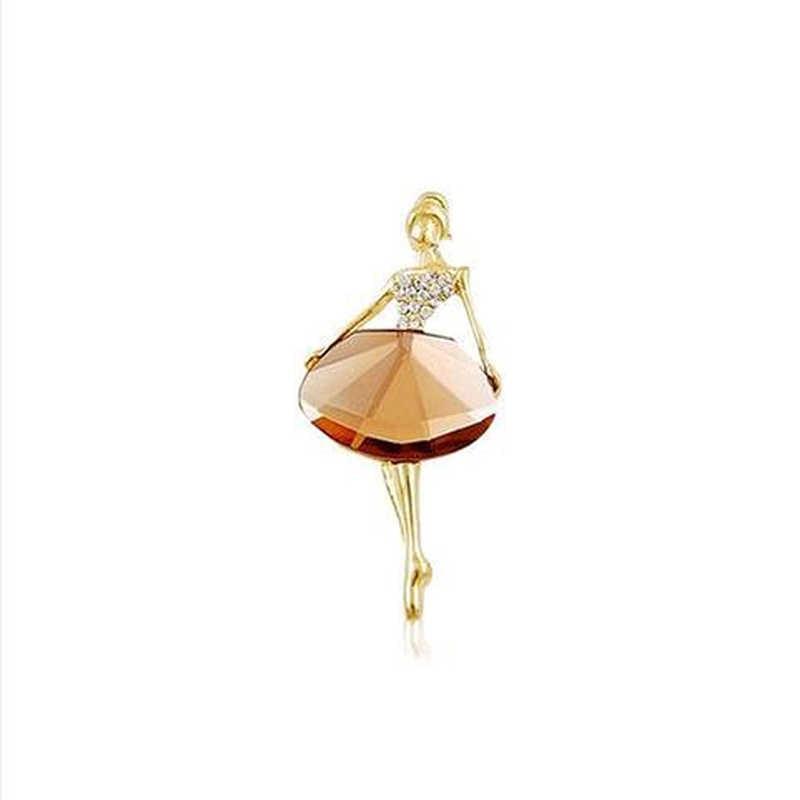 Ba lê Công Chúa Cổ Điển Ballerina Brooch Cô Gái Phụ Nữ của Đồ Trang Sức Thời Trang 2016 1 cái Mới Trâm Cài Tinh Tế Bling Đá Quý Trâm
