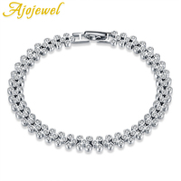 Ajojewel Luxury AAA Cubic Zircon Pave Setting Full Of Clear Cameo Bracelet 100 925 Sterling Silver