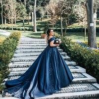 Элегантный 2019 с открытым плечом платья с короткими рукавами темно синие Vestidos de fiesta платье для женщин Формальные Вечерние Выпускные платья