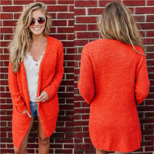 Trendy Women clothes solid pocket casual coat Polyester Cardigan slim long sleeve Tops one pieces