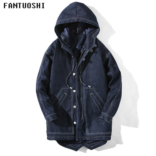 Special Offers 2018 Brand Fashion Parka winter jacket men Thick warm zipper Jacket hooded long Slim casual solid color large size Denim jacket