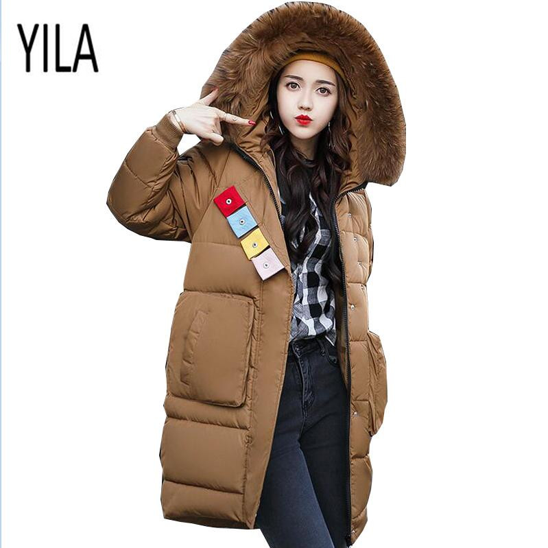 YI LA 2017 Winter Women Parka Thicken Down Cotton Coat long section large size cotton coat Fur Collar Hooded Padded Jacket S868 yi la 2017 new winter fur collar hooded down cotton coat fashion women s long coat cotton warm jacket parka plus size 3xl s869