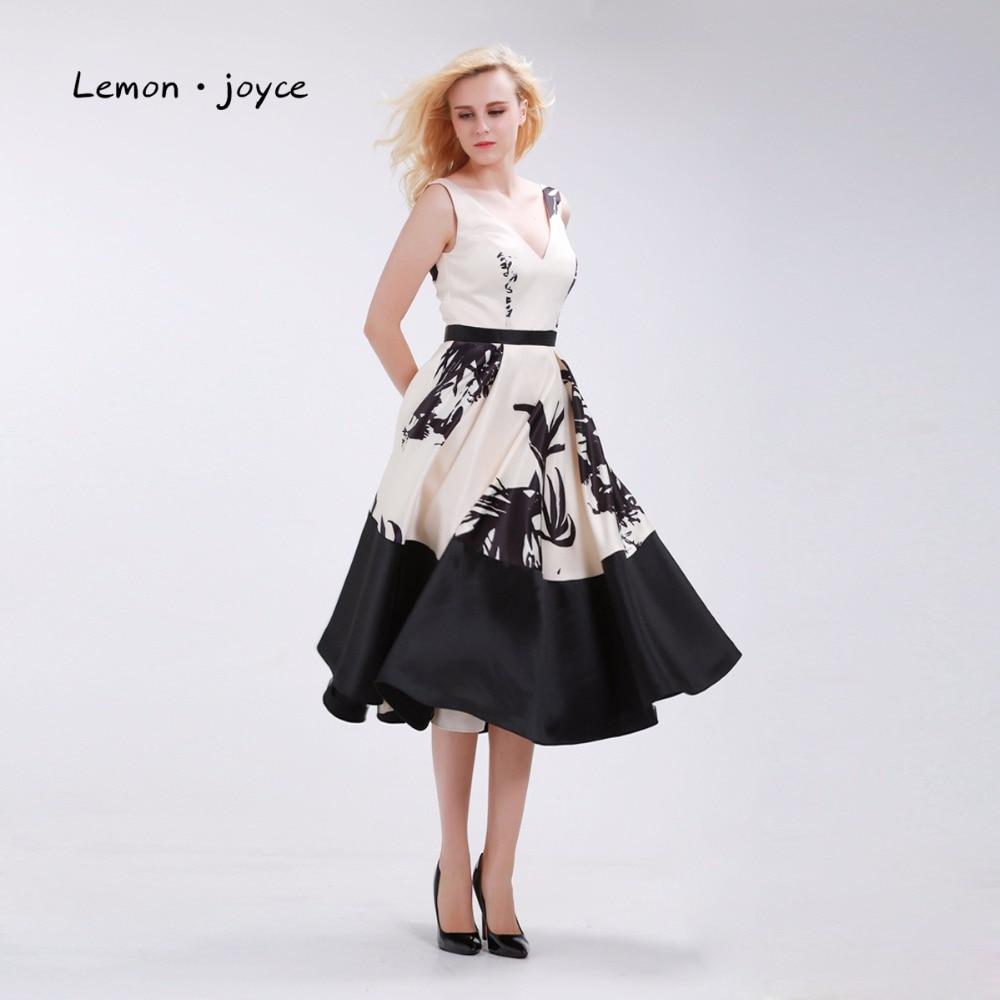 Floral Printed Tea Length Evening Dresses