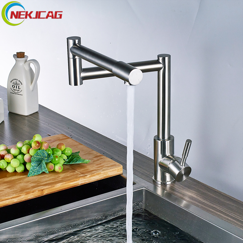 Stainless Steel Kitchen Faucet Single Handle Deck Mouted Mixer Tap Faucet Hot and Cold water Faucet