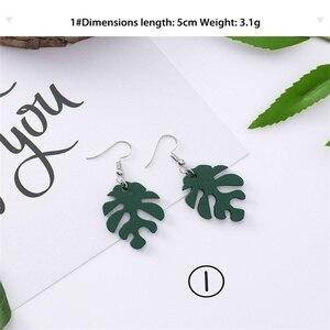 Изящные минималистичные ажурные серьги в виде листьев зеленой черепахи Sen Girls, женские деревянные серьги ручной работы с банановым листом, ю...