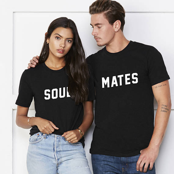 OKOUFEN Soul Mates fashion cotton anniversary gift Honeymoon shirts  matching letter printed wedding Top Tee couple tshirt O neck-in T-Shirts  from Women s ... 449264327f8b