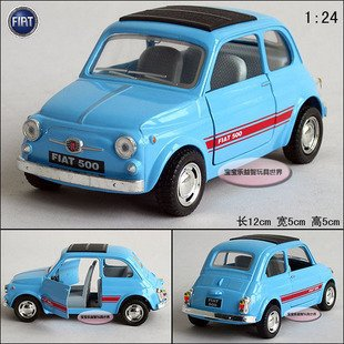 New Fiat 500 1 24 Alloy Diecast Model Car Toy Collection Light Blue