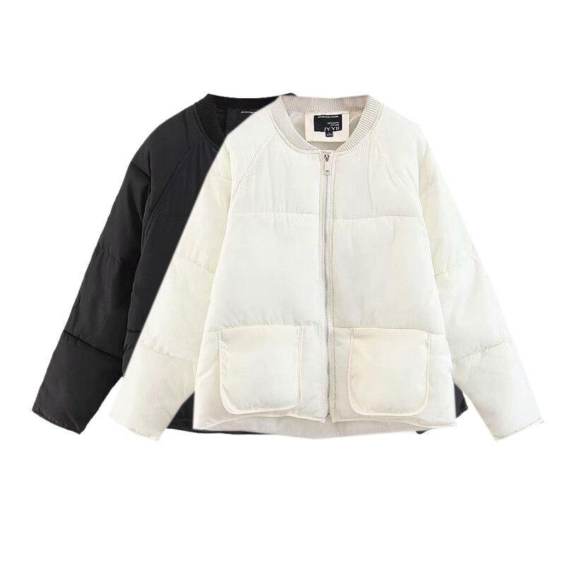 Dames Mode Vêtements Mince Glissière Couleur De Poche Longues Manches À white Simple Solide Manteau Fermeture Sauvage Coton Black Grande Hiver ZfCq4Onwx