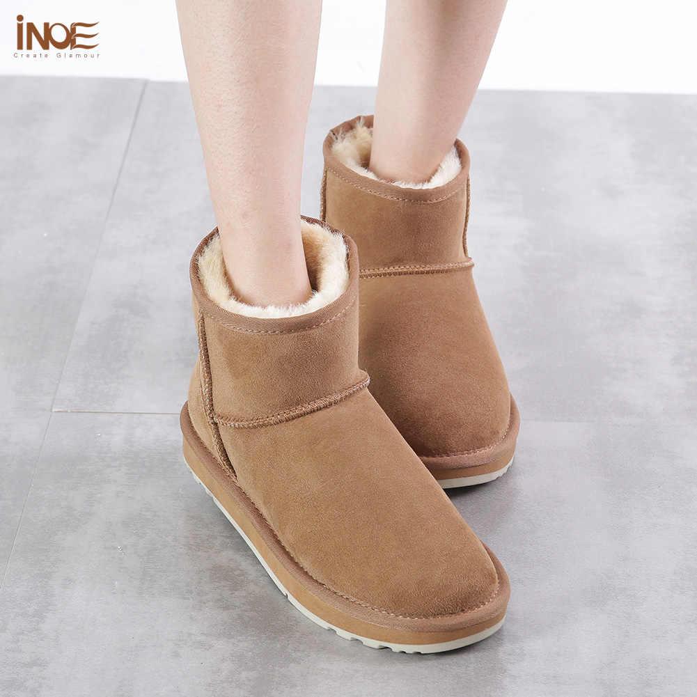 INOE คลาสสิกหนังขนสัตว์สตรีข้อเท้าฤดูหนาว Suede รองเท้าบู๊ตหิมะสำหรับสตรี Basic ฤดูหนาวรองเท้าสีดำสีน้ำตาล