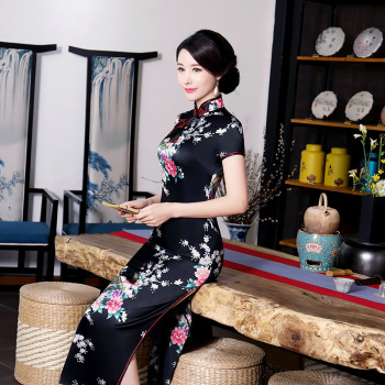 Black #Cheongsam Traditional #Chinese Style #Women's Long #Dress Lady Slim Rayon #Qipao #fashion #boygrl
