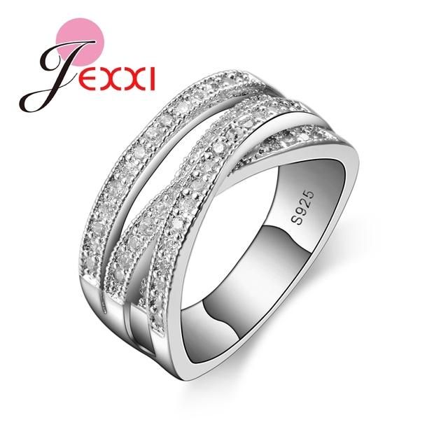 JEXXI 2018 Simple Wedding Rings For Women Shiny Elegant Cubic Zircon Jewelry 925