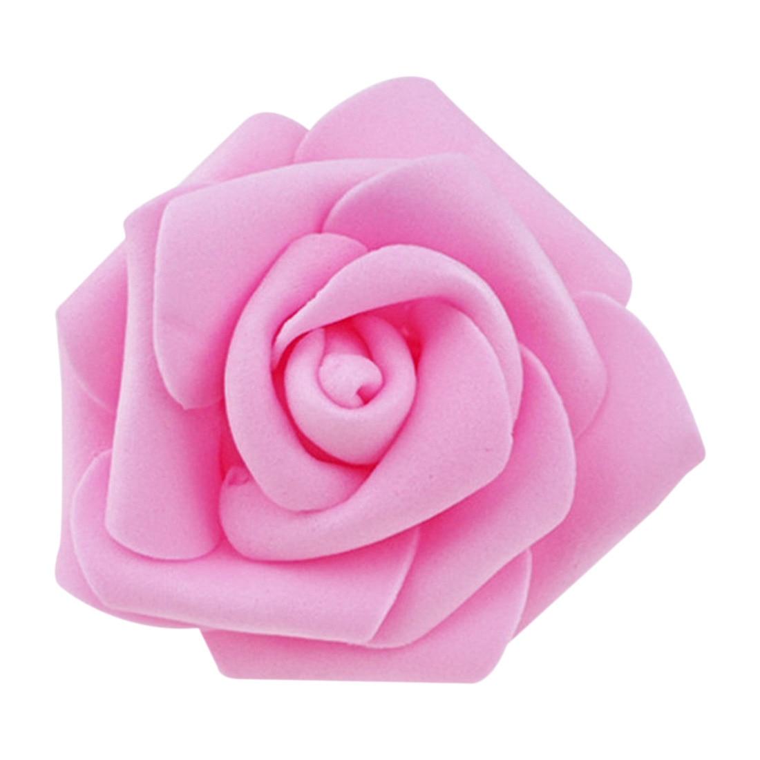 Высокое качество шт./пакет 100 6 см пены розы головы Искусственные цветы Свадебные украшения (розовый)