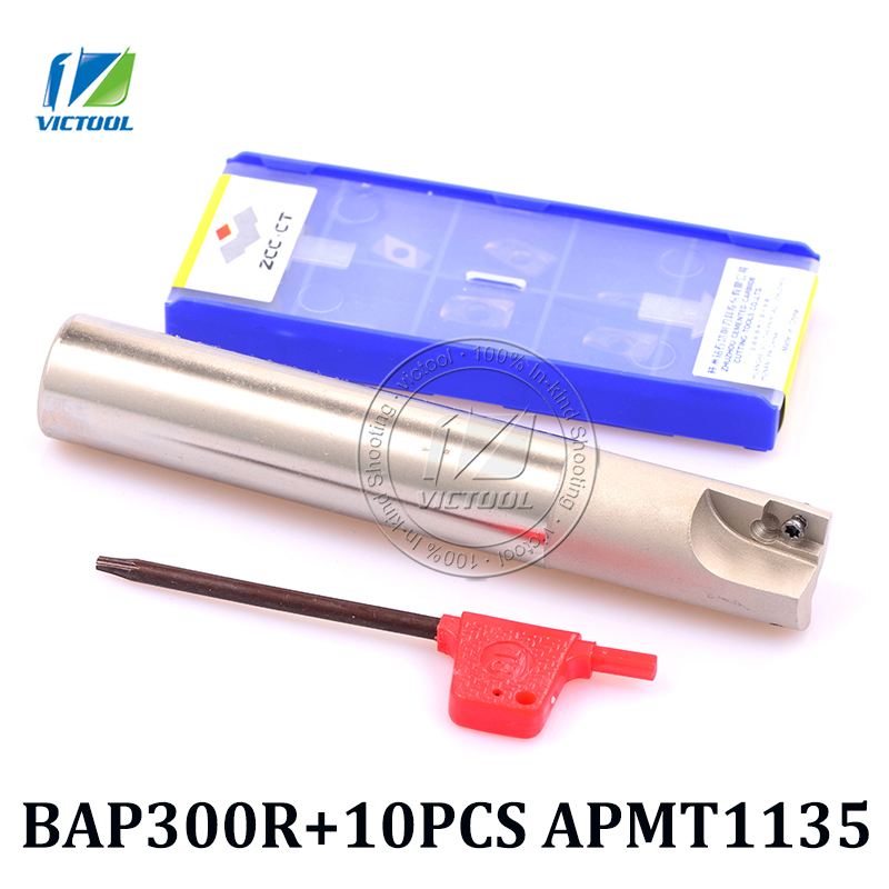 все цены на BAP 300R milling cutter tools with 10pcs APMT1135PDR Milling tool holder face mill for cnc milling machine for insert APMT1135