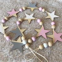 Nordic Wooden Star And Beads Garland Home Decor Kid S Room Banners Hanging Curtains Best Gifts